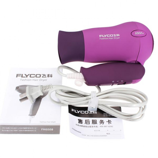 1000W FLYCO FH6008 Folding Hair Dryer Matte Purple 2021