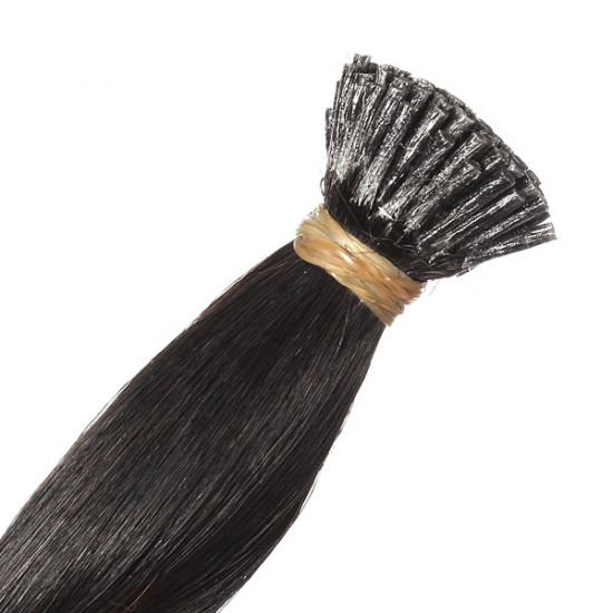 100PCS Natural Black Straight Stick I-Tip Human Hair Pieces Extension 2021