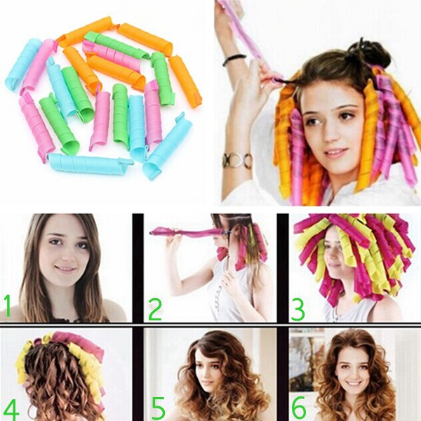 10Pcs 50cm Magic Hair Styling Spiral Curlers Rollers Hair Care & Salon