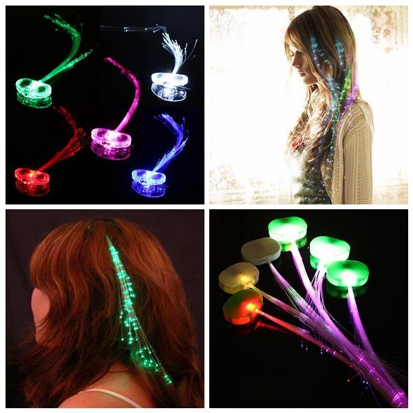 10Pcs LED Hair Extension Party Clip Pony Tail Fiber Optic Light Up Hair Care & Salon