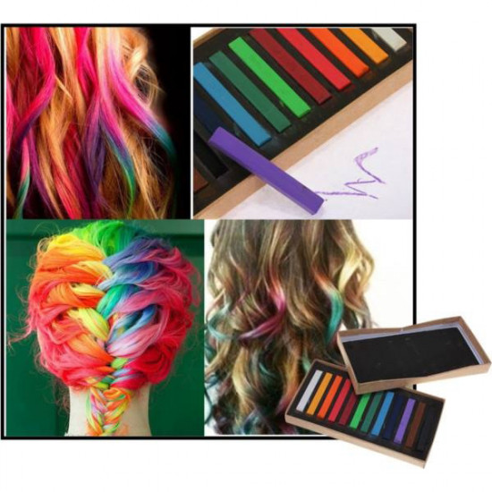 12 Colors Non-toxic Temporary Hair Color Chalk Square Hair Chalk 2021