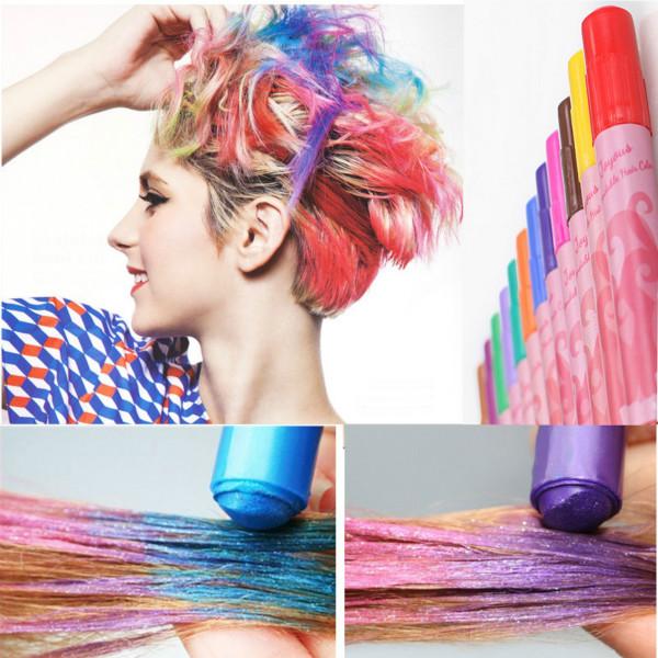 12 Colors Non-toxic Temporary Hair Coloring Crayon Pen Hair Care & Salon