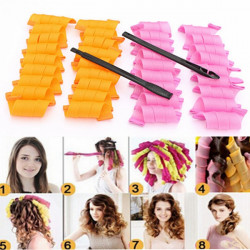 30Pcs 25cm Magic Hair Styling Spiral Curlers Rollers With 2 Hooks