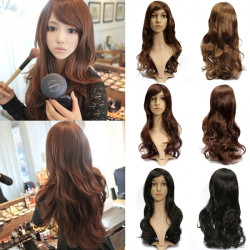3 Colors 65cm Women Long Wavy Curly Hair Piece Hairnet Cap Bang Wigs