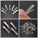 50Pcs Metal Silver Alligator Prong Hair Clips Accessories