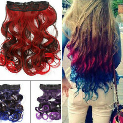6 Colors Gradient Change Color Wavy Curly Wig Hair Extensions