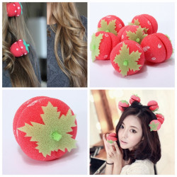 6 PCS Strawberry Sponge Ball Hair Hairdressing Curler Roller