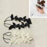Black Beige White Hollow Lace Leaf Headband Vintage Elastic Hair Band Hair Care & Salon