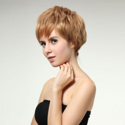 Blonde Short Bob Hairstyles Inclined Synthetic Wig