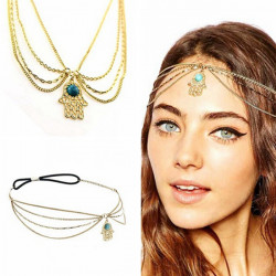 Bohemia Women Crystal Stone Pendant Summer Hair Band Chain Accessory