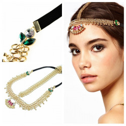 Bohemian Feelings Zinc Alloy Crystal Golden Metal Chain Headband
