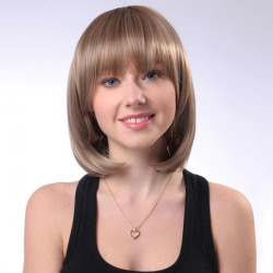 Capless Brown Neat Bang Synthetic Wavy Straight Short Wig