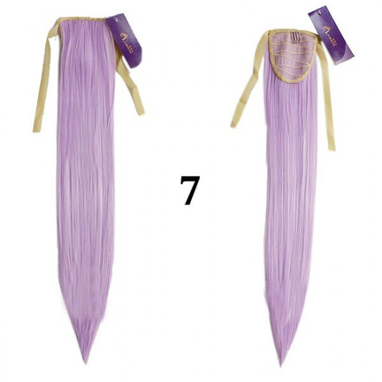 Colorful Long Straight Ponytail Extension Wig 2021