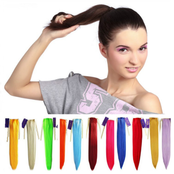 Colorful Long Straight Ponytail Extension Wig Hair Care & Salon