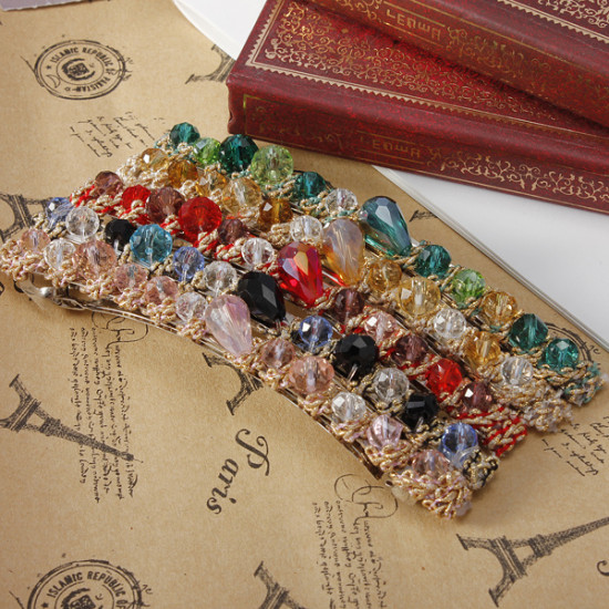 Colorful Rhinestones Crystal Gravel Alloy Hair Clips Hairpin 2021