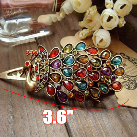 Colorful Vintage Retro Antique Crystal Peacock Hairpin 2021