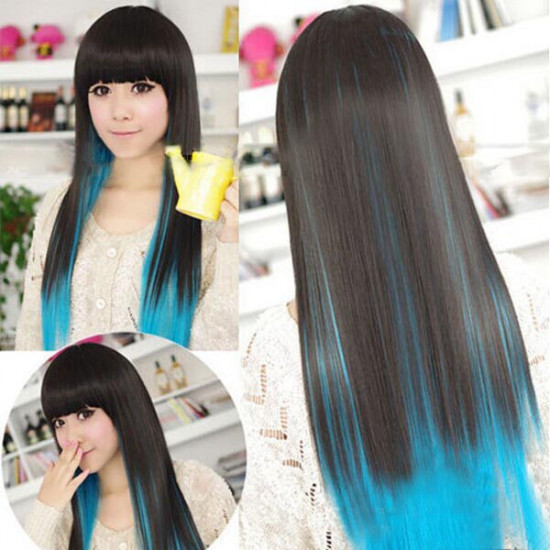 Cosplay Party Black Blue Gradients Long Straight Hair Wig 2021