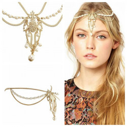 Crown Pearl Tassel Chain Jewelry Romantic Crystal Zinc Alloy Headband