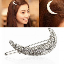 Crystal Moon Shape Rhinestone Hair Clip Bang Hairpin Claw