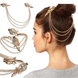 Crystal Rhinestone Feather Hairpin Bridal Hair Metal Chain Jewelry