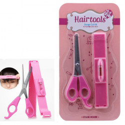 DIY Hair Tools Bangs Cut Kit Clip and Pink Scissors