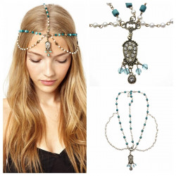 Diamond-studded Pendant Chain Sapphire Metal Hairband Hair Accessories