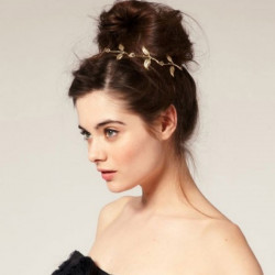 Fashion Women Metal Lovely Charming Gold Leaf Headband Hair Band