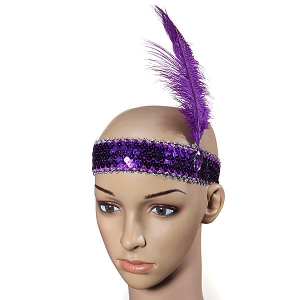 Feather Headband Flapper Sequin Costume Fancy Dress Hair Band Hair Care & Salon