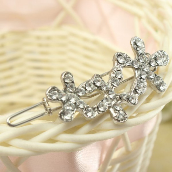 Flower Barrette Hairdress Silver Crystal Hair Clip Accessories Hairpin 2021