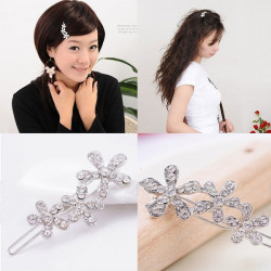 Flower Barrette Hairdress Silver Crystal Hair Clip Accessories Hairpin