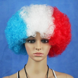 French National Flag World Cup Fans Synthetic Cosplay Party Wigs