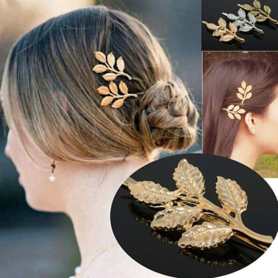 Gold Metal Leaves Hair Clip Hairpin Decoration Headwear 2021