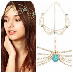 Gothic Bohemian Turquoise Tassel Girls Hairband Hair Accessories