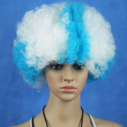 Greece National Flag World Cup Fans Synthetic Cosplay Party Wigs