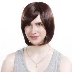 HG27-2T33 Short Chestnut Brown Side Bang Synthetic Bob Wavy Hair Wig