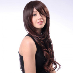 HT001-2T33 Capless Long Brown Side Bang Synthetic Curly Hair Wig