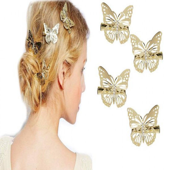 Hair Accessory Barrette Hollow Out Metal Hairpin Butterfly Hair Clip 2021