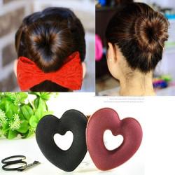 Hairband Clip Headdress Sponge Heart Shape Bun Hair Maker Disk Set Kit