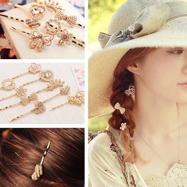 Heart Bow Flower Pearl Rhinestone Crystal Hairpin Hair Clip Hair Care & Salon