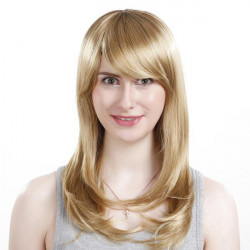 Inclined Side Bang Synthetic Blonde Straight Long Wig