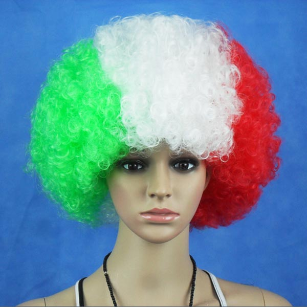 Italy National Flag World Cup Fans Synthetic Cosplay Party Wigs Hair Care & Salon