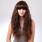 LC015-2T30 Light Brown Synthetic Neat Full Bang Long Curly Hair Wig Hair Care & Salon