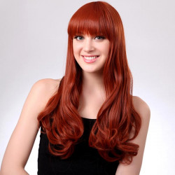 LC070-350 Capless Long Orange Full Bang Synthetic Curly Hair Wig