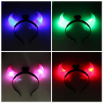 LED Light Display Horn Demon Plastic Hair Hoop Holiday Decoration Hair Care & Salon
