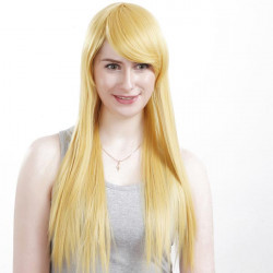 LS001 Capless Long Light Blonde Side Bang Synthetic Straight Hair Wig