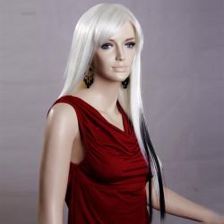 Long Straight White Highlights Black Wig