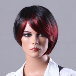 New Fashion Style Short Red Highlight Black Straight Side Bangs Wig
