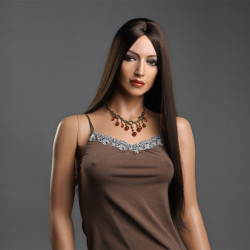 New Fashion Women Long Straight Parted Middle Wig