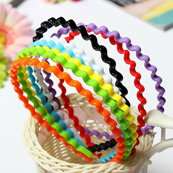 Plastic Colorful Wave Hair Band Hoop Hairdressing Hair Care & Salon