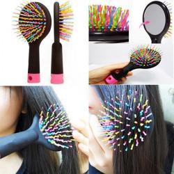 Rainbow Volume Anti-static Hair Massage Comb Brush Mirror Salon Tool